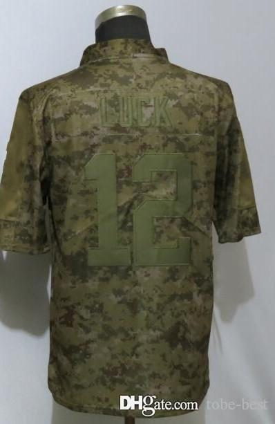 dd22a375d 2019 Indianapolis 12 Andrew Luck Jerseys Colts 2018 Salute To Service USA  Flag Impact Lights Out Black Color Rush Drift Camo Olive Limited From Tobe  Best