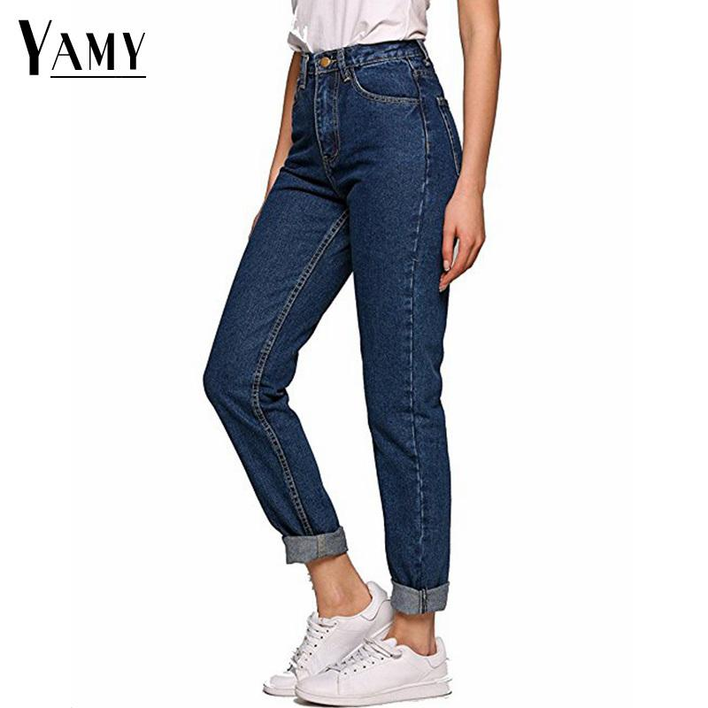 Spring 2019 Women Pencil Denim Pants Blue High Waist Woman Casual Vintage  Boyfriend Mom Jeans Korean Fashion Streetwear C19041201