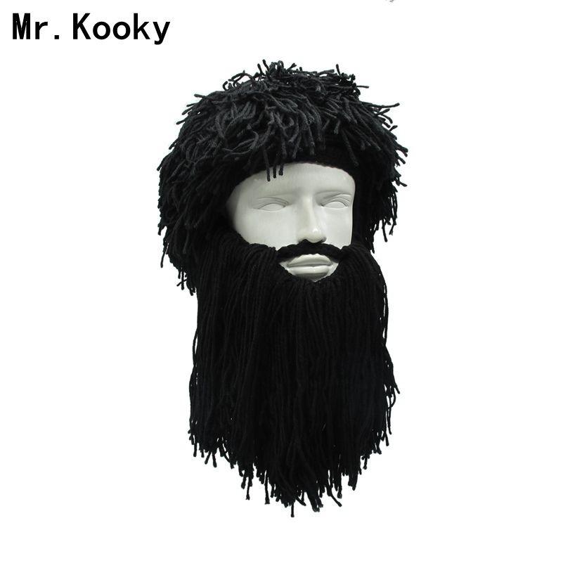 Mr.Kooky Men S Women S Crazy Wig Beard Savage Beanie Vagabond Hats Handmade  Winter Birthday Gifts Funny Ski Mask Halloween Caps C18112301 Mens Beanies  ... 203061fb1169