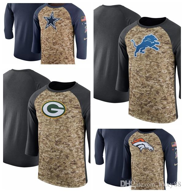 detailed look c03b0 d4d63 Green Bay Packers Detroit Lions Denver Broncos Dallas Cowboys Salute to  Service Sideline Legend Performance Three-Quarter Sleeve T-Shirt