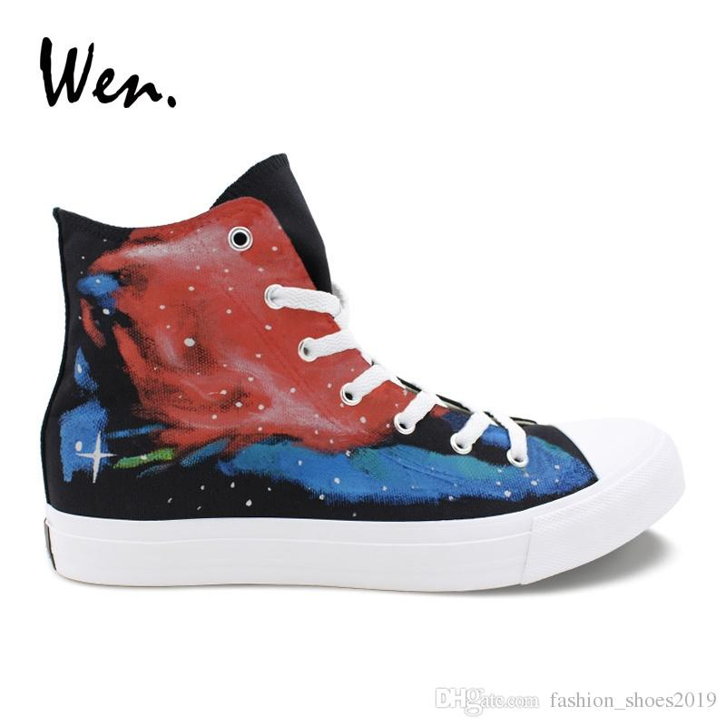 6158ecc51a4 Wen Original Hand Painted Canvas Shoes Blue Red Galaxy Space Designers  Sneakers Women Top Trainers Men High Plimsolls Laced  206566 Naot Shoes  High Heel ...