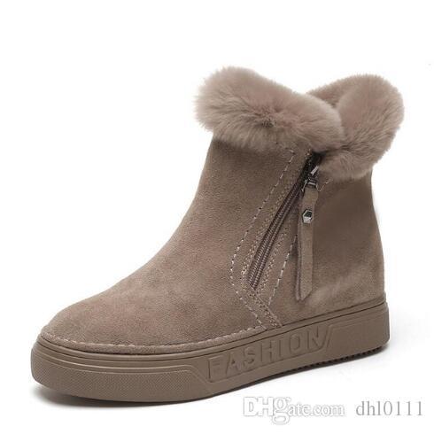 cd9bdfff Compre Para Mujer Botas De Tobillo De Invierno Femenino Cremallera Flock  Plataforma Bota De Nieve Señoras Zapatillas De Deporte Felices Zapatos  Planos ...