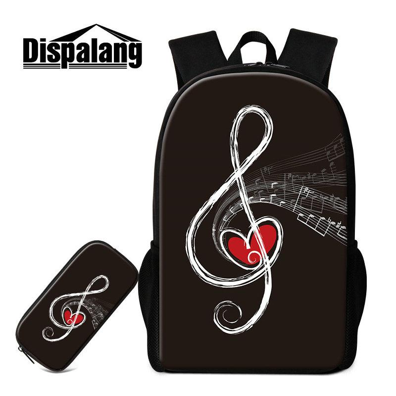 Children New Fashion Schoolbags With Pencil Case Musical Note Backpack To School Bags Set Student Child Bagpack Bookbags Pen Box