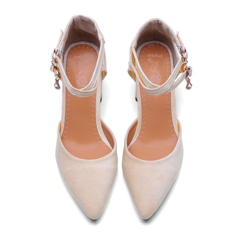 1ab687ba861bd9 Hot Sale-Summer Women D'Orsay High Block Heel Pointed Toe Pumps Black Flock  Double Crystal Ankle Strap Party Office Bridal Lady Shoe