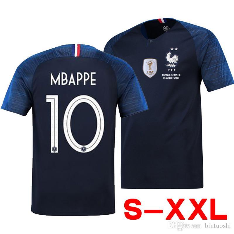51758a29326 Large Size S-XXL New 2 Stars MBAPPE GRIEZMANN Soccer Jersey 2018 ...