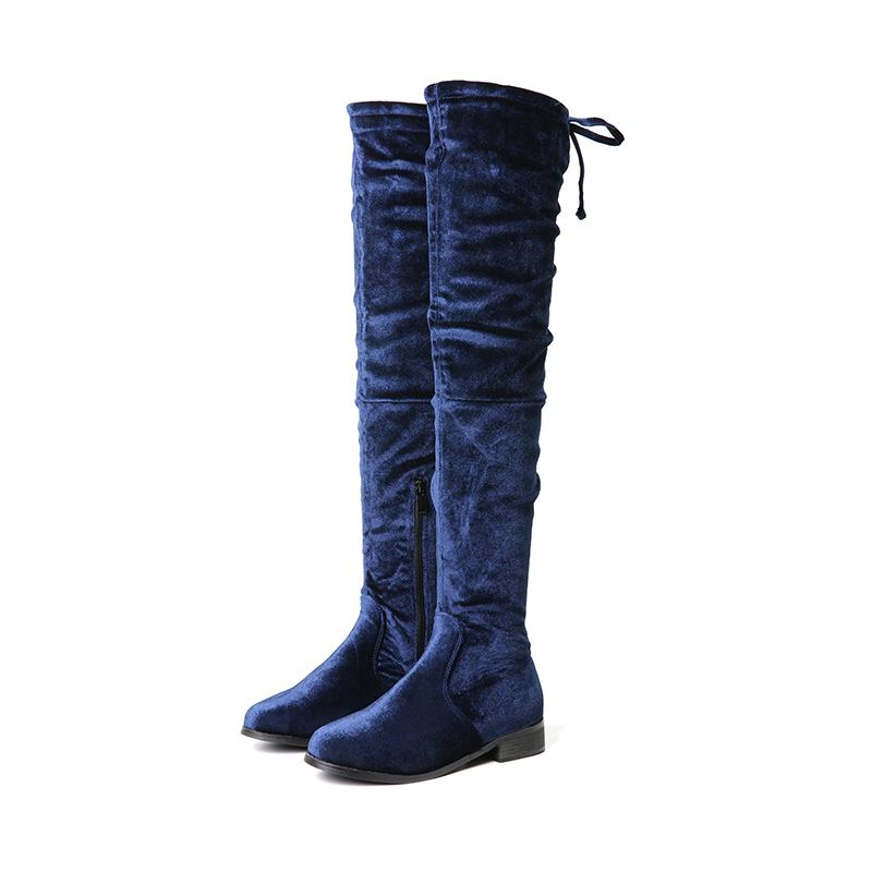 5db81129e56 NIS Women Thigh High Boots, Black/Blue Soft Short Plush Winter Warm Boots,  Ladies Sexy Over The Knee 3cm Mid Heels Zip Shoes