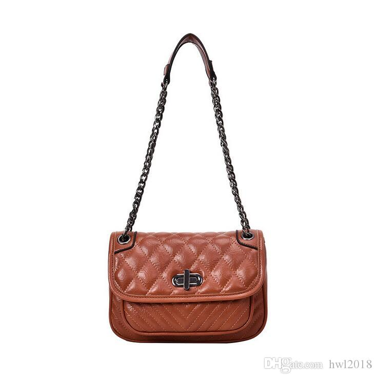 120ce57c2fd4 Casual Brown Oil Skin Fashion Ladies Shoulder Bag Rhombic Chain PU Leather  Fabric Korean Version Of The Wild Pure Color Diagonal Handbag Satchels  Leather ...