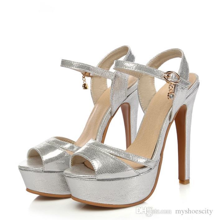 Más el tamaño 31 32 de 42 a 48 zapatos de novia bodas de plata del oro de las mujeres talones de diseño de lujo diapositivas