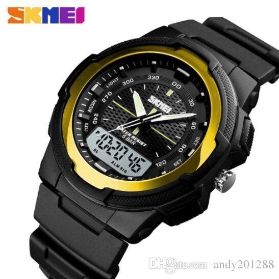dddcc09311 SKMEI 1454 Men Analog Digital Electronic Watch Fashion Casual Outdoor  Sports Male Wristwatch 3 Time Display Alarm Stopwatch 5ATM Waterproof