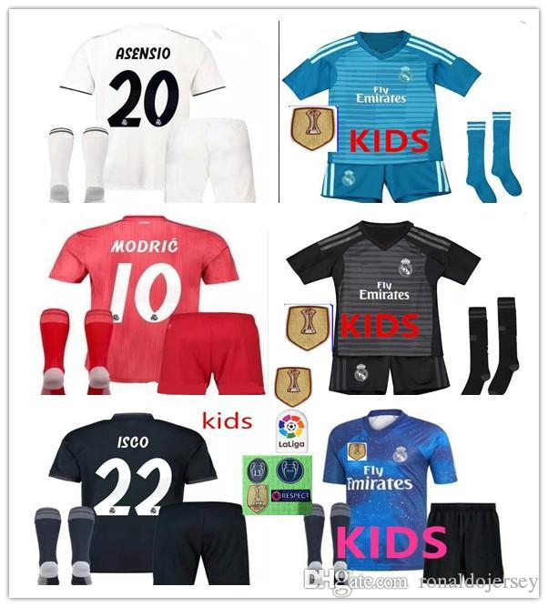 d0135ada1 2019 2019 Real Madrid Ea Sports Kids Kit Soccer Jerseys 2018 19 Home White  Away 3RD 4TH Boy Child Youth Modric ISCO BALE KROOS Football Shirts From ...