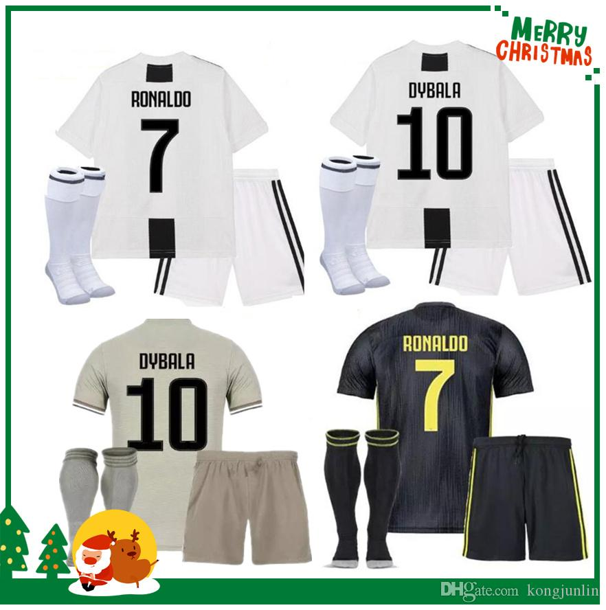 75aa365c1a1 2019 Juventus Kids Boy Kit 18 19  7 RONALDO Home Soccer Jersey DYBALA  Soccer Shirt 2019 MARCHISIO MANDZUKIC PJANIC Juve Football Uniform Sales  From ...