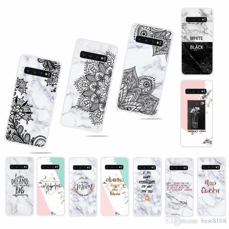 Marble Soft TPU IMD Case For Samsung S10 S10e S9 Note 9 8 M10 M20 A30 A20 A40 A50 A70 Lace Flower Floral Granite Rock Stone Hybrid Hit Cover