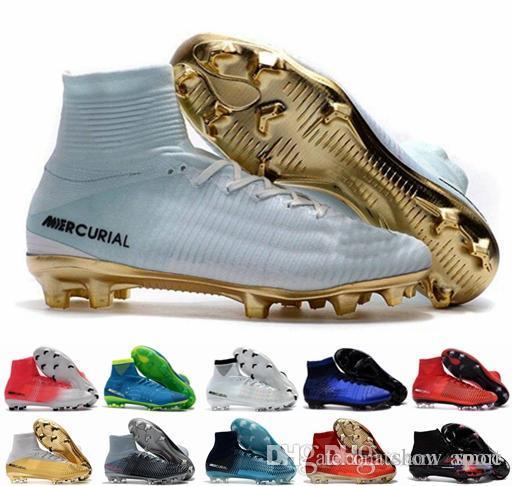 09f5b963ae3df Compre Botines De Fútbol Para Hombre Para Hombre Mercurial CR7 Superfly V  FG Botas De Fútbol Para Niños Magista Obra 2 Zapatos De Fútbol Para Mujer  ...