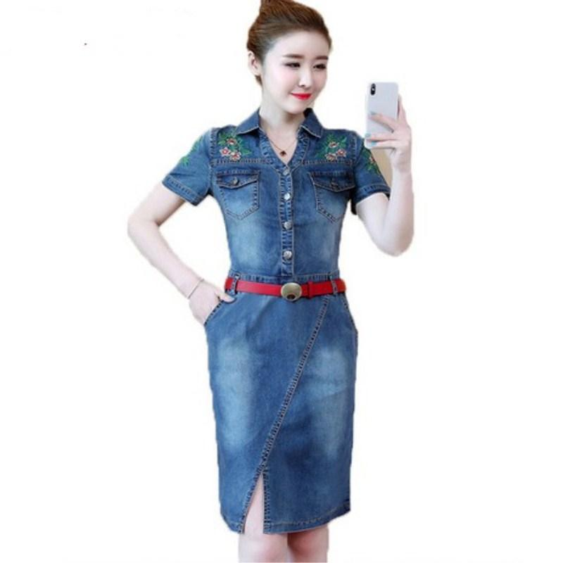 Neue blume stickerei denim dress sommer 2018 jeans kurzarm dress weibliche vintage bodycon jean frauen elegante vestidos