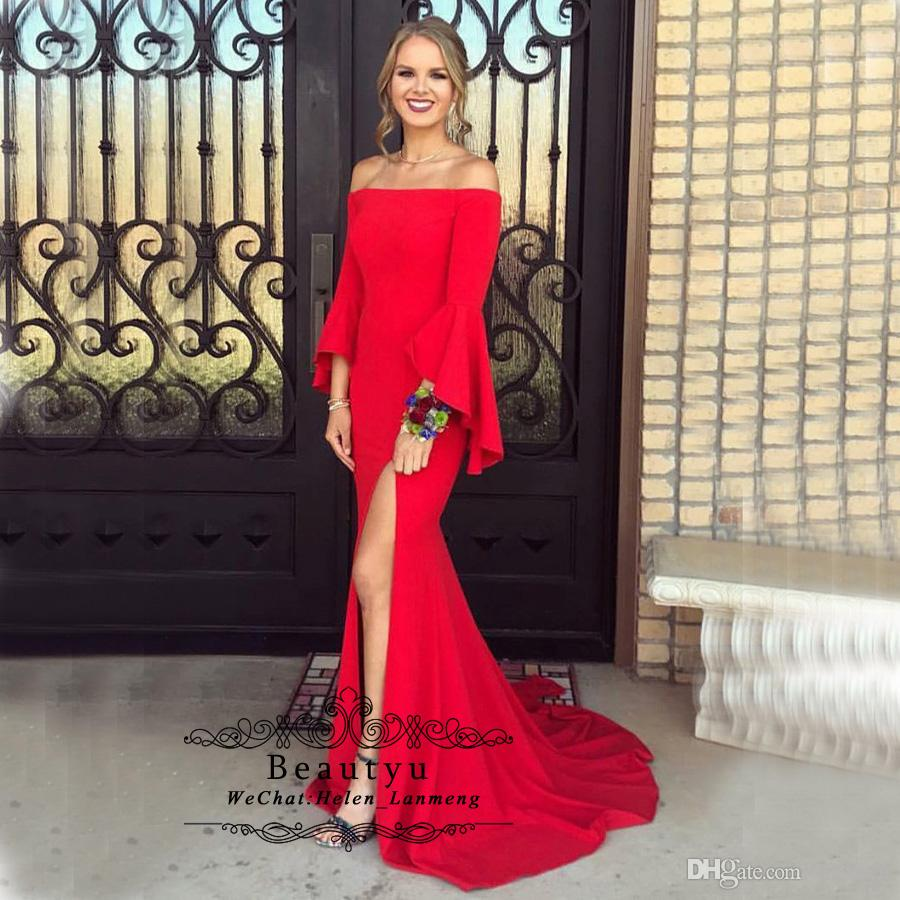 Fashion Red Long Mermaid Prom Dresses 2019 New Boat Neck Long Sleeves High  Split Cheap Celebrity Formal Party Gowns Special Occasion Dress Celebrity  Prom ... 62ffdce373fa