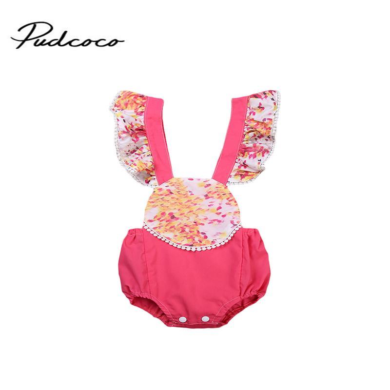 Baby Girl Emmababy Marca Floral Sem Costas Verão Ruffled Romper Lace Jumpsuit sunsuit 2017 Roupas de bebê Set 0-24M