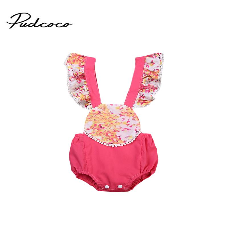 Emmababy Marke Blumen Backless Sommer-Baby gekräuselter Spielanzug Spitze Jumpsuit sunsuit 2017 Baby-Bekleidung Set 0-24M