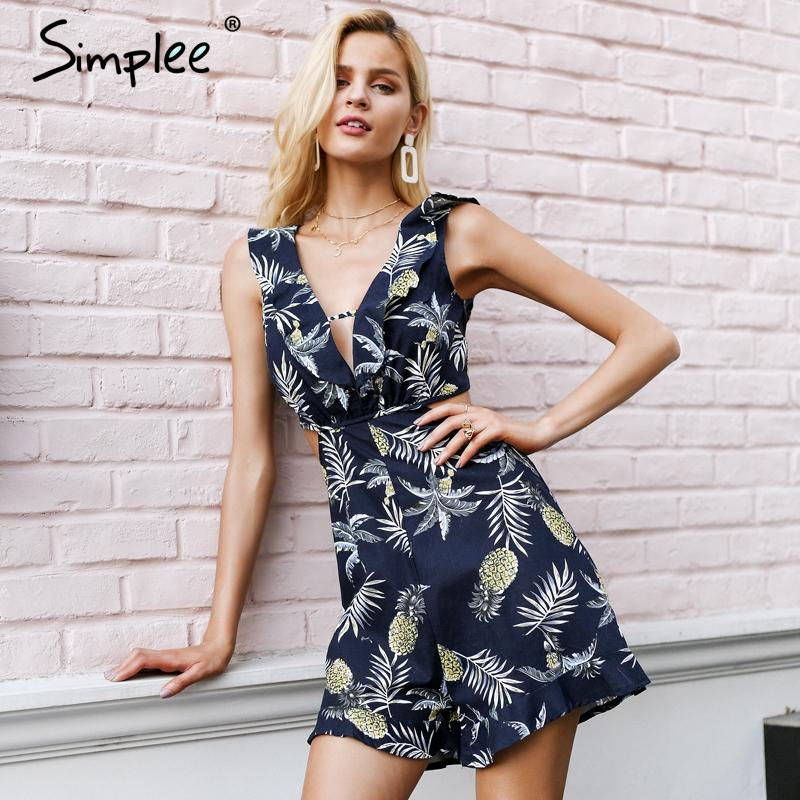 b616f19ced Simplee Sexy Ruffle Floral Print Jumpsuit Romper Women Deep V Neck Backless  Overalls Causal Hollow out Summer Beach Playsuit Beach Playsuit Jumpsuits  ...