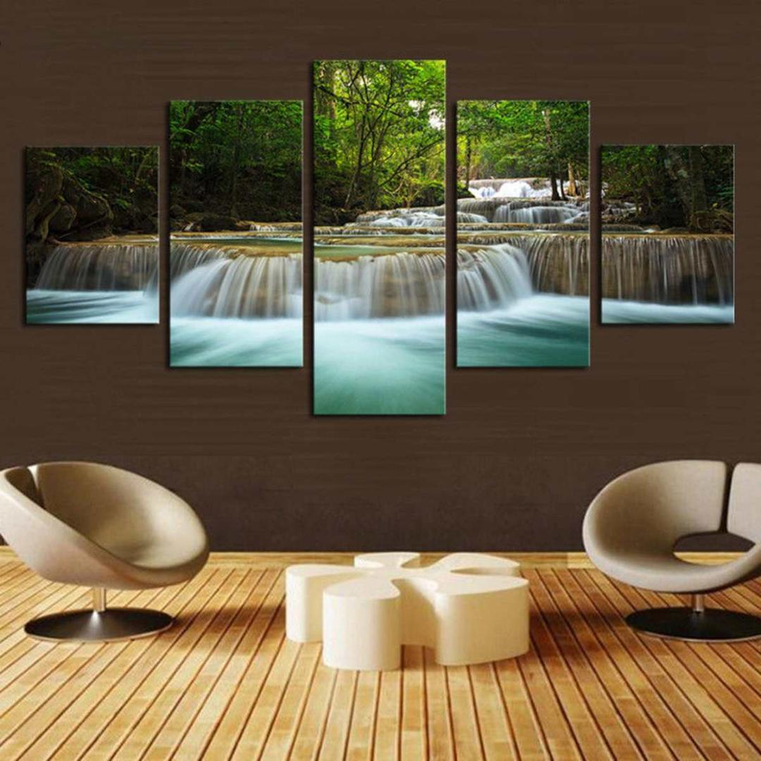 5 Pcs Nature Forest Green Lake Waterfall Painting Canvas Pictures Print HD Home Decor Poster Living Room Wall Art No Framed