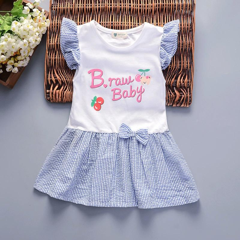 236ab29b8821 2019 Quality Summer 2019 Children Girls Cute Dress A Line Mini Dress For  Kids Girls Sleeveless Bow Cartoon Cotton Dress For Girls From Victorys04,  ...