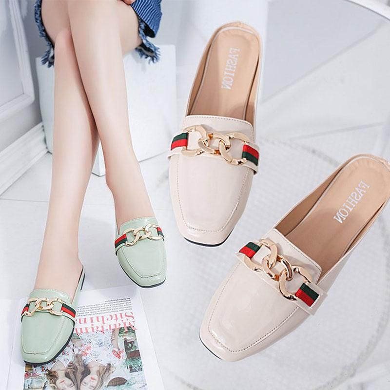 4e6c8c27beb6 Women Slippers Flat Women Shoes Woman Slip On Slides Ladies Fashion Metal  Summer Slippers Female Flip Flops Mules Shoes Fashion Shoes Happy Feet  Slippers ...
