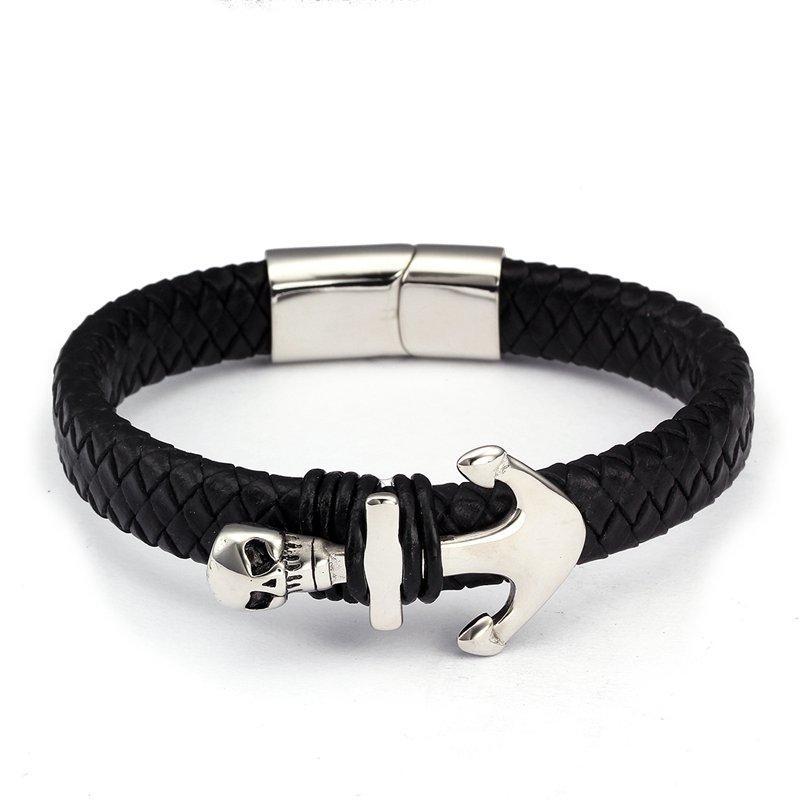 Projeto Animal Homens Diy Macho Leão Charme Pulseiras de Aço Inoxidável Trendy Chain link Cuff Pulseiras De Couro Genuíno Pulseiras