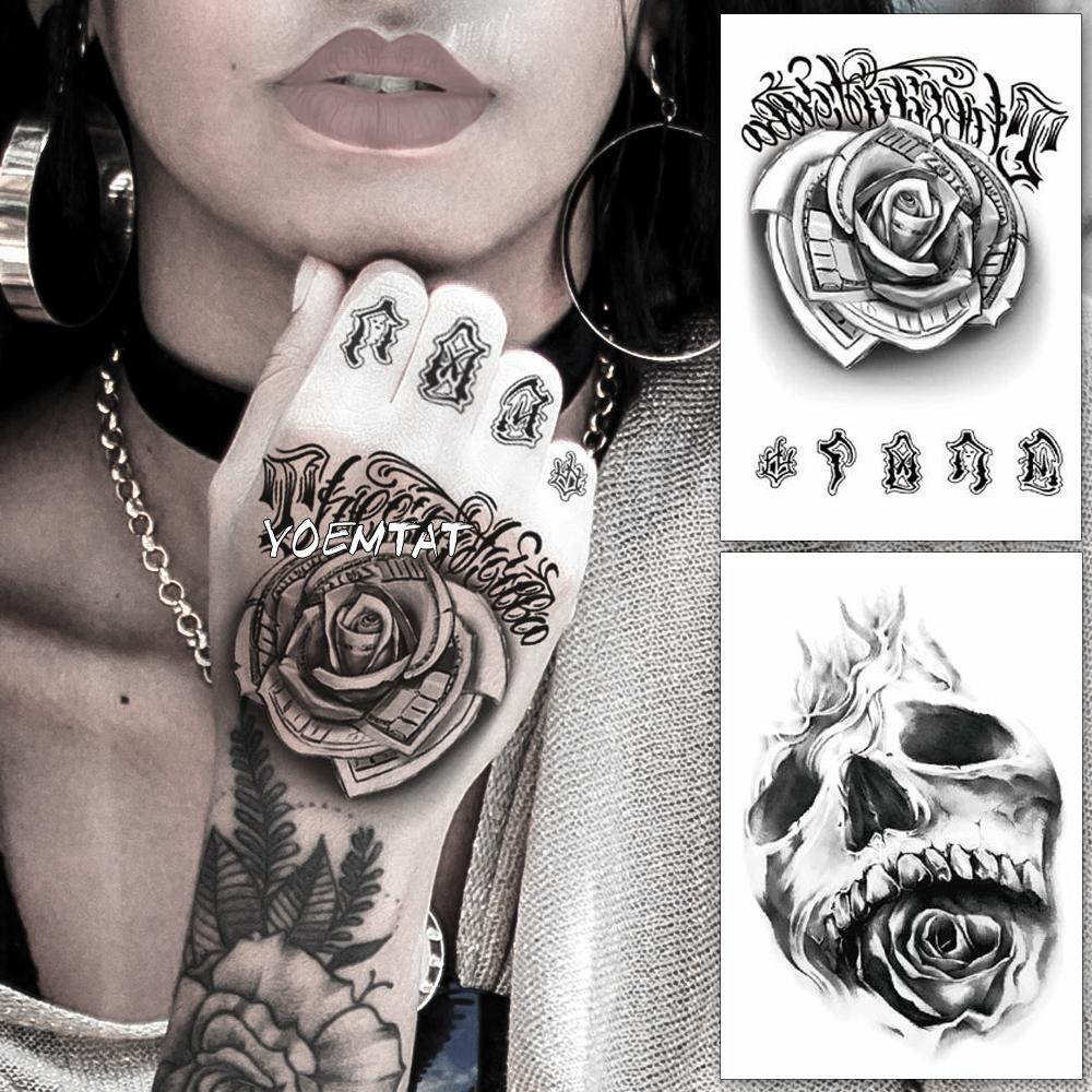 a37c5b7d3 Waterproof Temporary Tattoo Sticker Flower Rose Fake Tatto Flash Tatoo Hand  Arm Foot Back Tato Body Art For Girl Women Men Tattly Temporary Tattoos  Tattoo ...