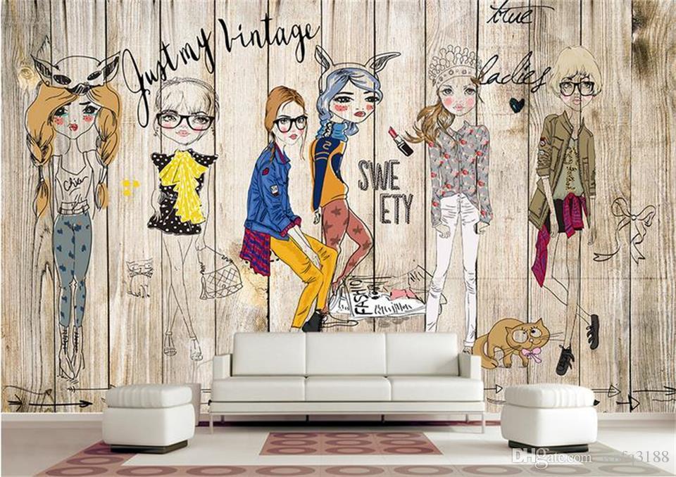 العرف حجم 3d صور خلفيات معيشة اللوحة رسمت باليد لوحات خشبية فتاة