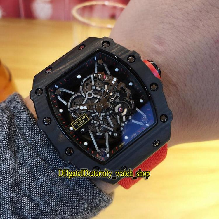 Luxry RM035 RAFAEL NADAL Skeleton Dial NTPT Black Carbon Fiber Pattern Case Japan Miyota Automatic Mens Watch Red Nylon Leather Band Watches