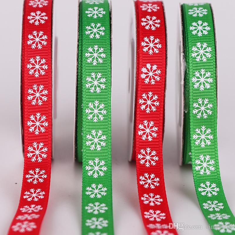 Christmas Ribbon Snowflake Printed Grosgrain Ribbon 1cm Red Green Crafts Wedding Gift Package Decoration Jacquard Ribbon 10 Yards