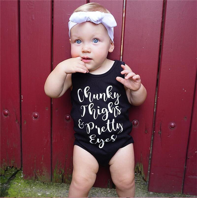 0814e9fed 2019 Infant Rompers Baby Vest Romper Kids Jumpsuit Toddler Girls Summer  Clothes Boy Sleeveless Black Letter Print Fashion Clothing SALE A41603 From  ...