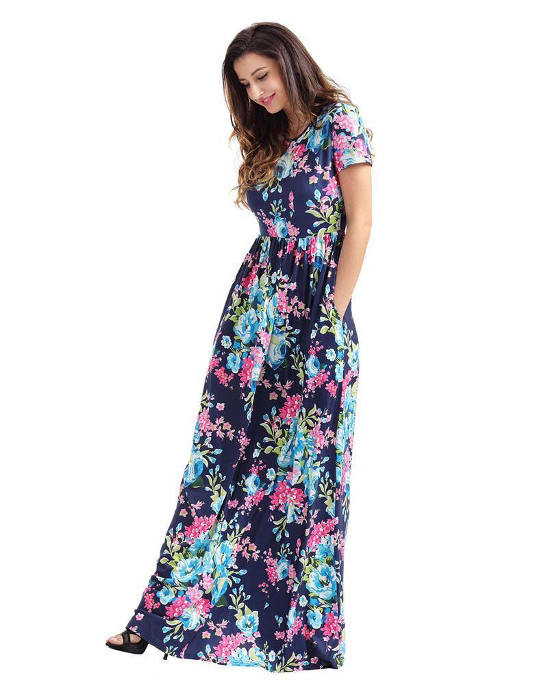 171155aaf0cda Satın Al Vintage Kadınlar Casual Maxi Elbise Bohemian Çiçek Çiçek Baskı  Yüksek Bel Tunik Elbise Cep Tasarım Yaz Boho Uzun Elbiseler 2019, $45.88 |  DHgate.