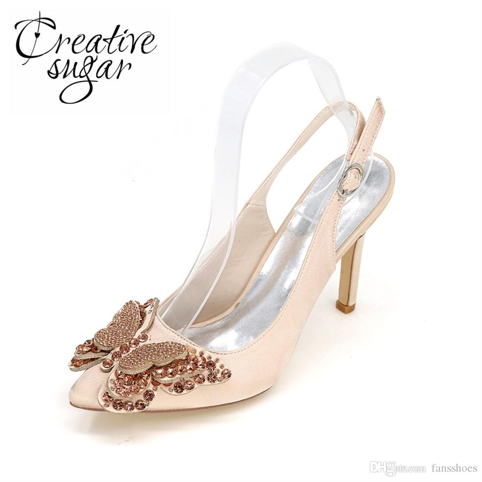 308b236aa80 Creativesugar Pointed Toe Slingback Satin Dress Shoes With Rhinestone  Butterfly Charm For Bridal Wedding Party Prom  37551 Mens Shoes Online Mens  Dress ...