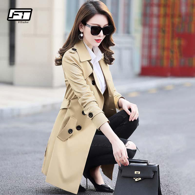 Fitaylor Autumn Winter Women Double Breasted Trench Coats Medium Long Slim Waterproof Raincoat Business Outerwear Plus Size 5xl Y190827