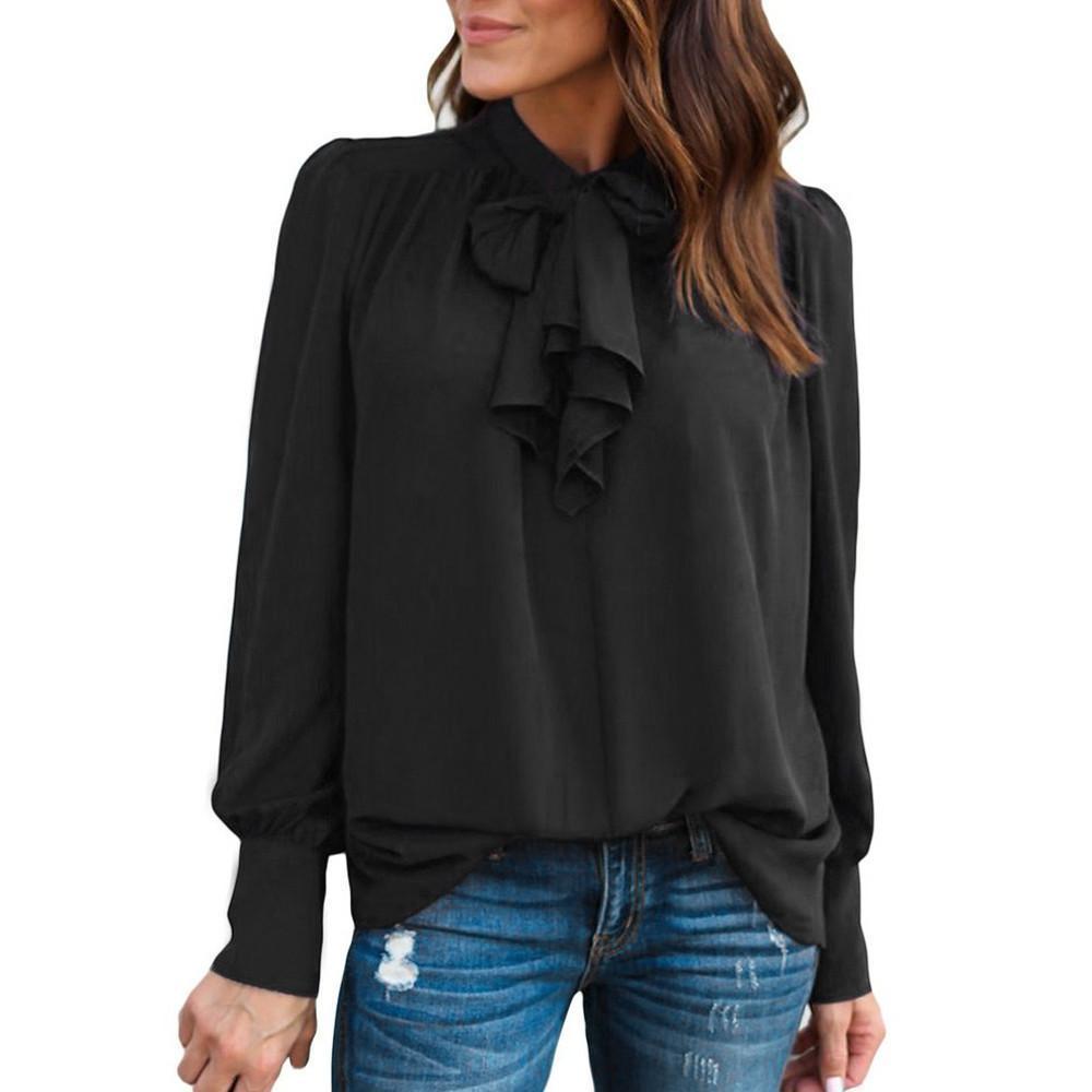eff94e9c9a5567 2019 Women Chiffon Blouse Long Sleeve Solid Bow Tie Neck Shirt 2019 New  Keyhole Back Elegant Ladies Office Tops Camisa Feminina  VE From Jamie21