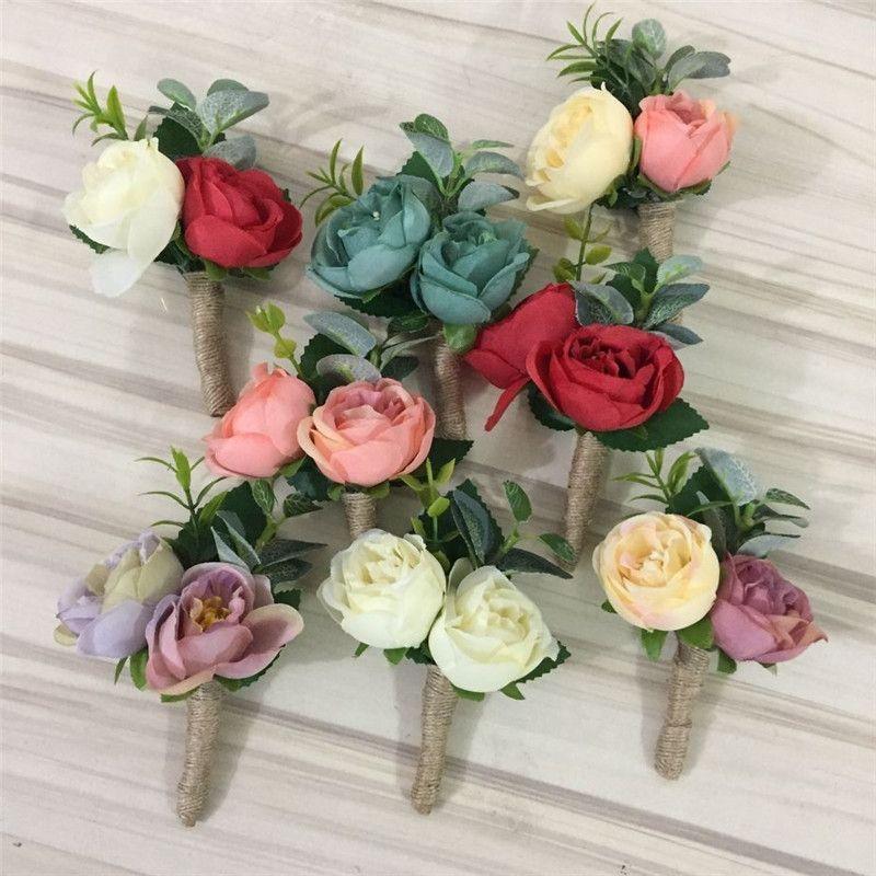 8 Couleur Bricolage Boutonniere Marie Boutonniere Meilleur Homme Rose Fleurs De Mariage Bouquet De Fleurs Accessoires De Bal Parti Homme Costume