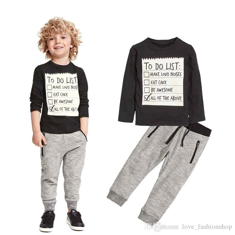Retail baby boy outfits 2pcs suit set (black letters sports casual t-shirt+pants) kids tracksuit children boutique clothing sets