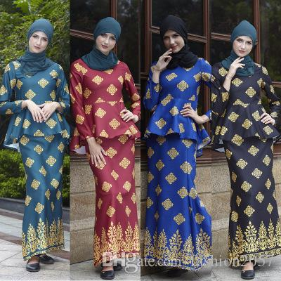 455832c92 National costume 2019 new two-piece printing, women's suit skirt Malaysia  explosion, 4 colors optional, free shipping