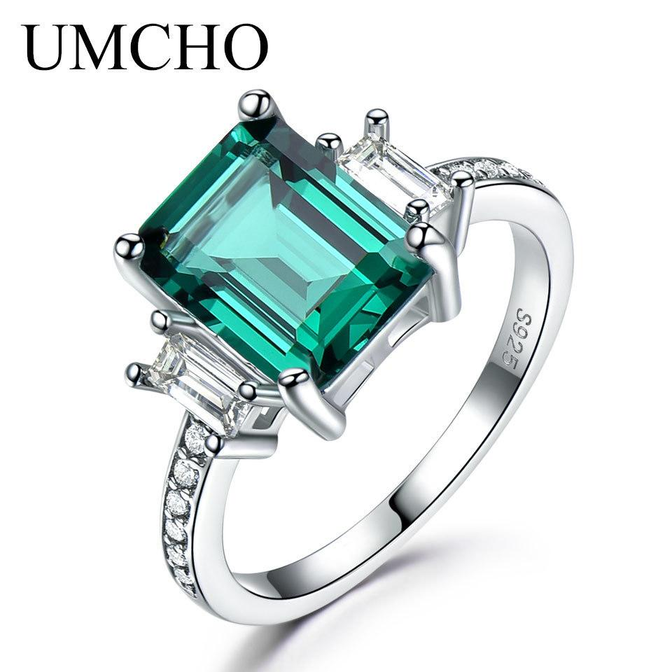 4696dc403bb87 Umcho Green Emerald 100% 925 Sterling Silver Rings For Women Promise  Princess Gemstone Ring Wedding Gift Fine Christmas Jewelry