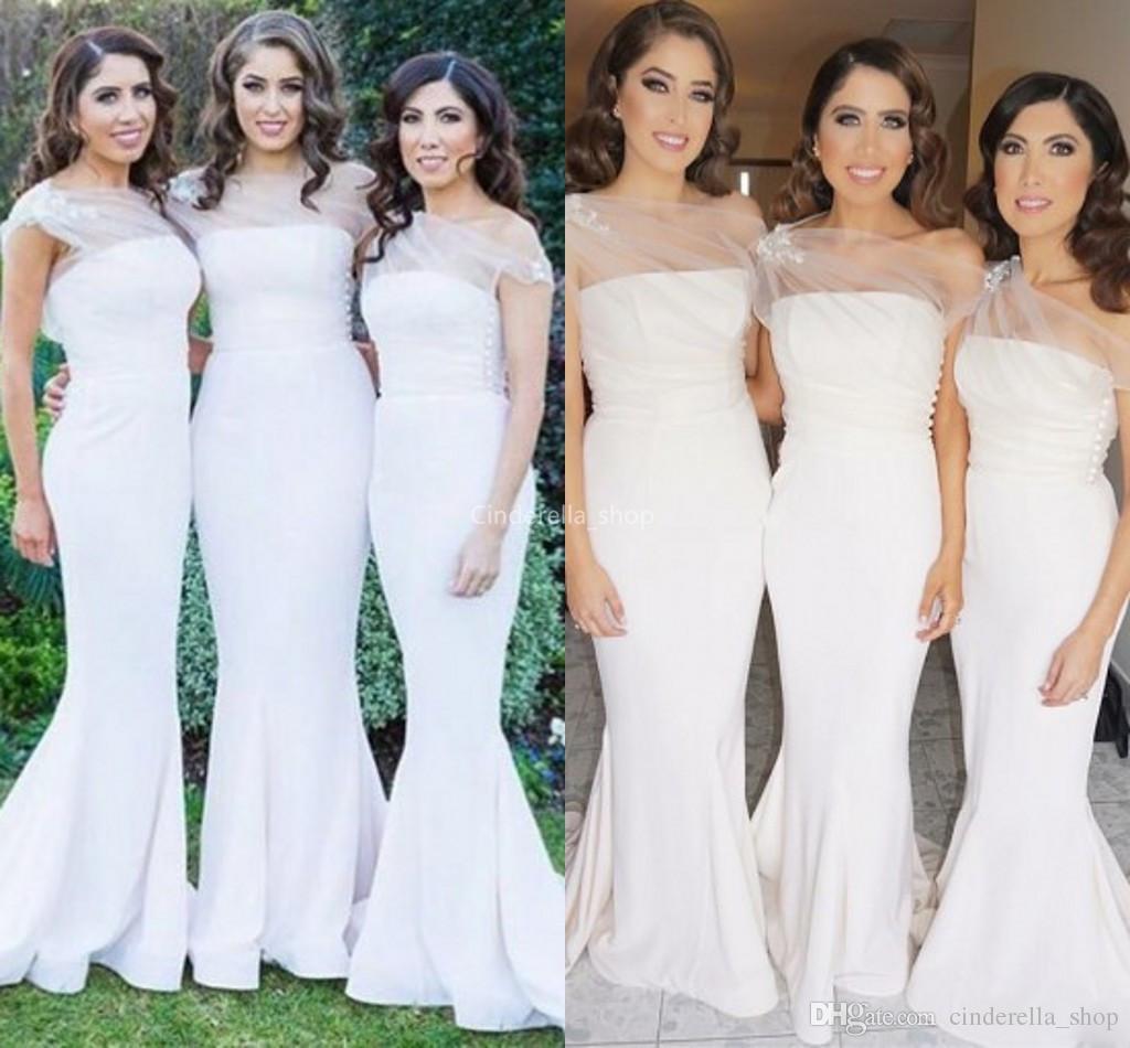 00ba8fec7c3e Elegant Mermaid Long Bridesmaid Dresses 2019 Sheer One Shoulder Bodice  Arabic Maid Of Honor Dresses Garden Country Wedding Guest Dresses Burgundy  Bridesmaid ...