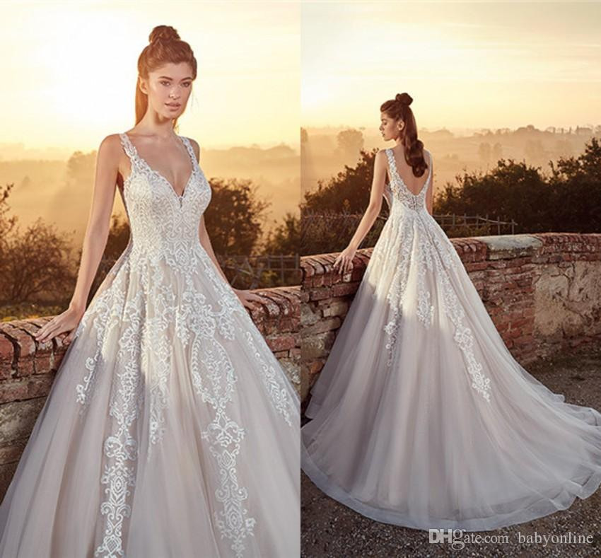 727ef295d9a Discount 2019 A Line Wedding Dresses Spaghetti Straps Backless Tulle Floor  Length With Appliques Bridal Gowns Formal Custom Made Cheap A Line Wedding  ...