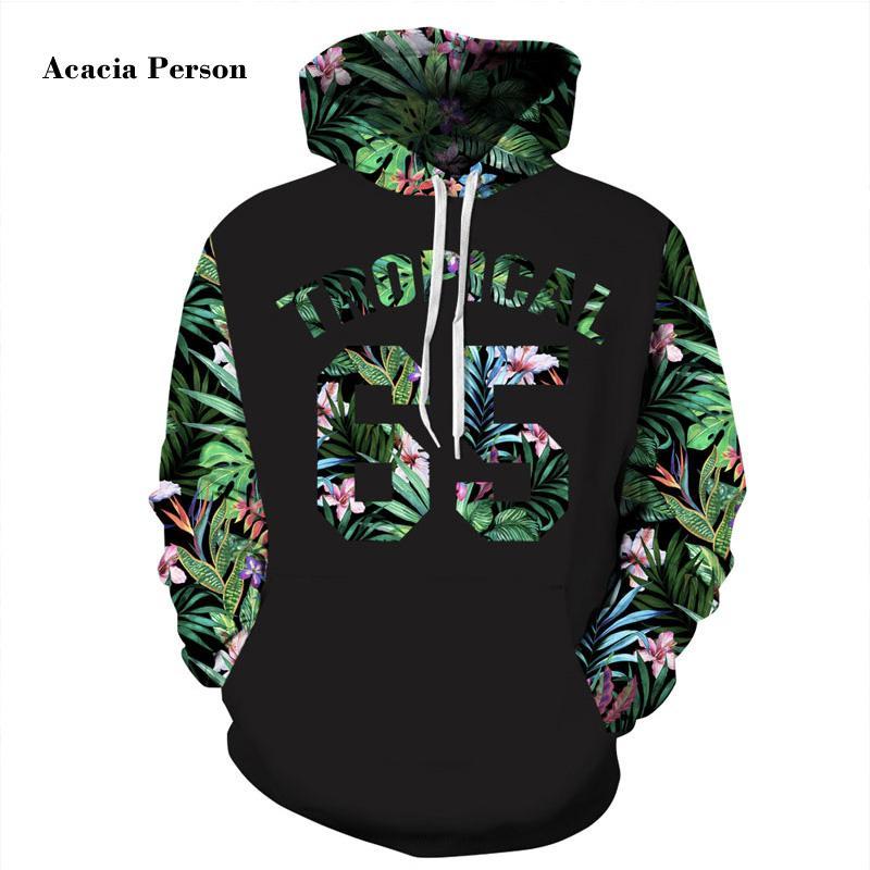 aec0b24ca Feuilles vertes Hoodies Hommes / Femmes 3d Sweatshirts Imprimer Numéro 65  Lettres Fleurs Sweats À Capuche Sweatshirts
