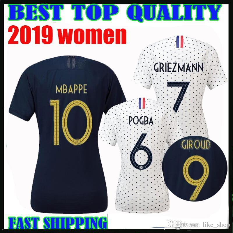new concept 23b68 582f0 world cup 2019 France MBAPPE GRIEZMANN POGBA women Soccer jerseys LEMAR  football shirt home femmes 19 20 french girl francia maillot de foot