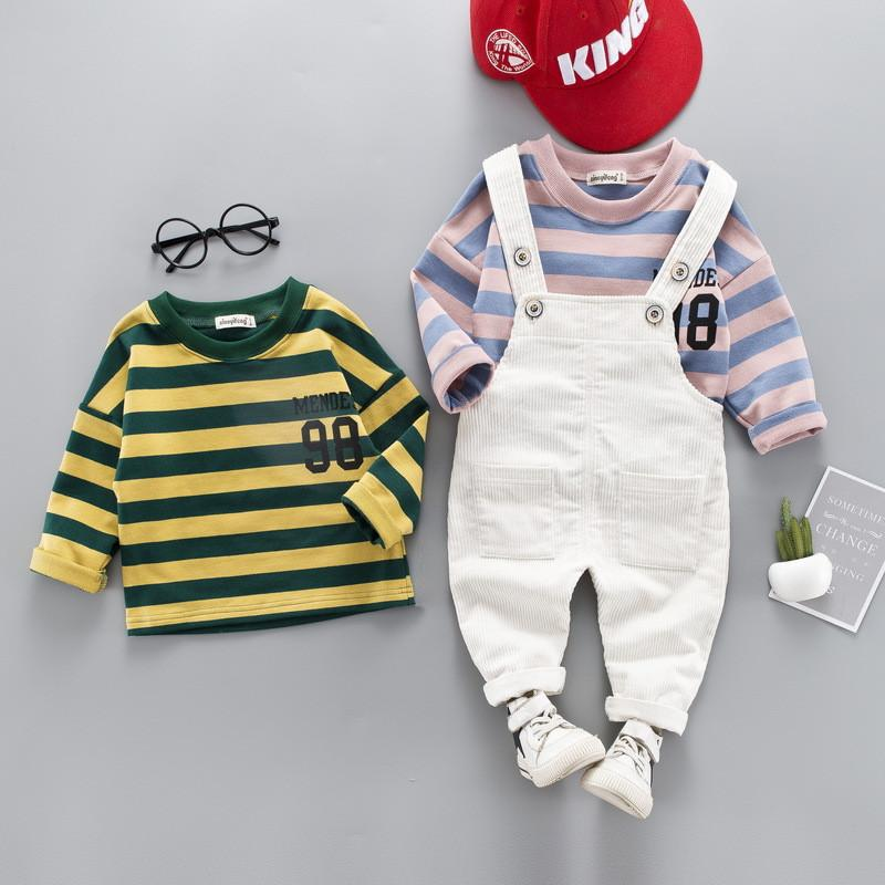 0-4 years High quality boy girl clothing set 2019 new spring active casual kid suit children baby clothing T-shirt+romper 2pcs