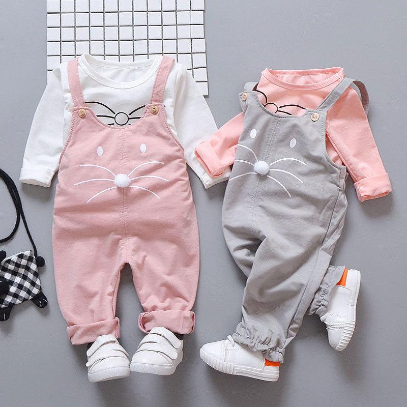 Spring Newborn Clothes Fashion T-shirt + Pants Baby Girls Outside Wear Sports Suit Clothing Sets Q190520