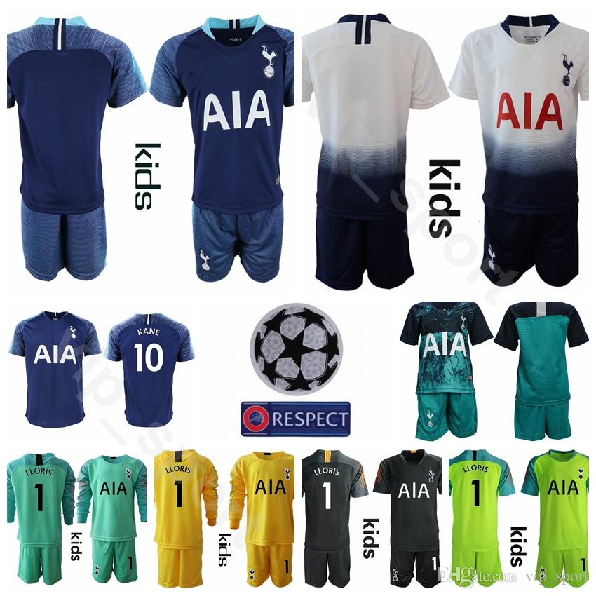 2ba9bb058f4 2019 Youth KANE Jersey Set Kids Long Sleeve Goalkeeper Soccer FC LAMELA SON DELE  ERIKSEN LUCAS LLORIS Children Football Shirt Kits Uniform From Vip_sport,  ...
