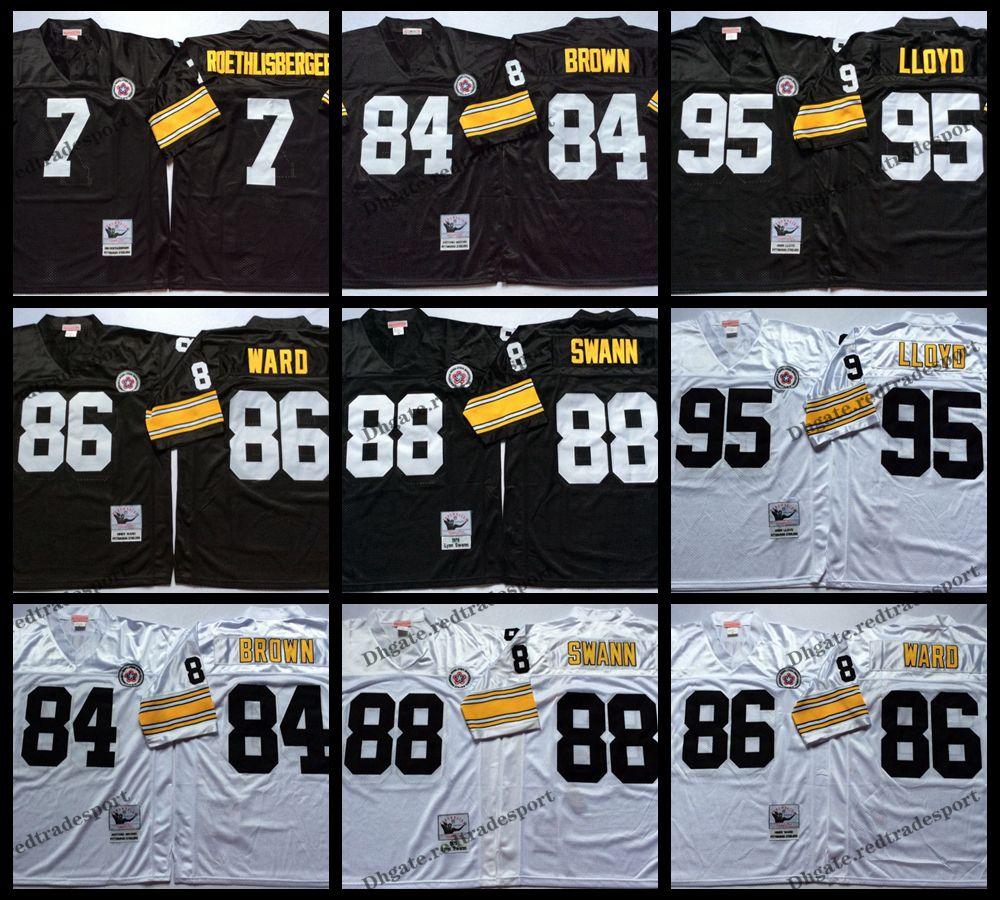 best service 044f1 f88e0 Vintage Pittsburgh 95 Greg Lloyd Steelers Football Jerseys 7 Ben  Roethlisberger 84 Antonio Brown 86 Hines Ward 88 Lynn Swann Stitched Shirt