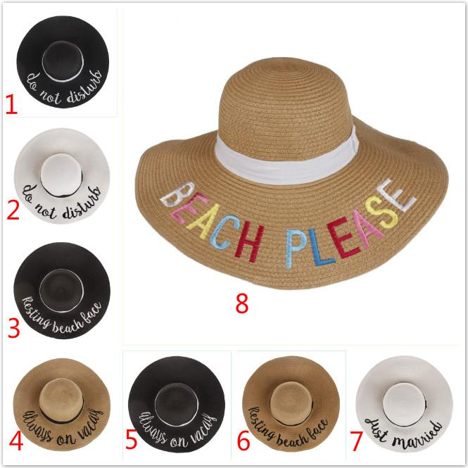 edb4155d1 Beach PLEASE Women Straw Beach Hats Fashion Letter Embroidered Flash Lafite  Sunhat Breathable Summer Wide Brim Hats