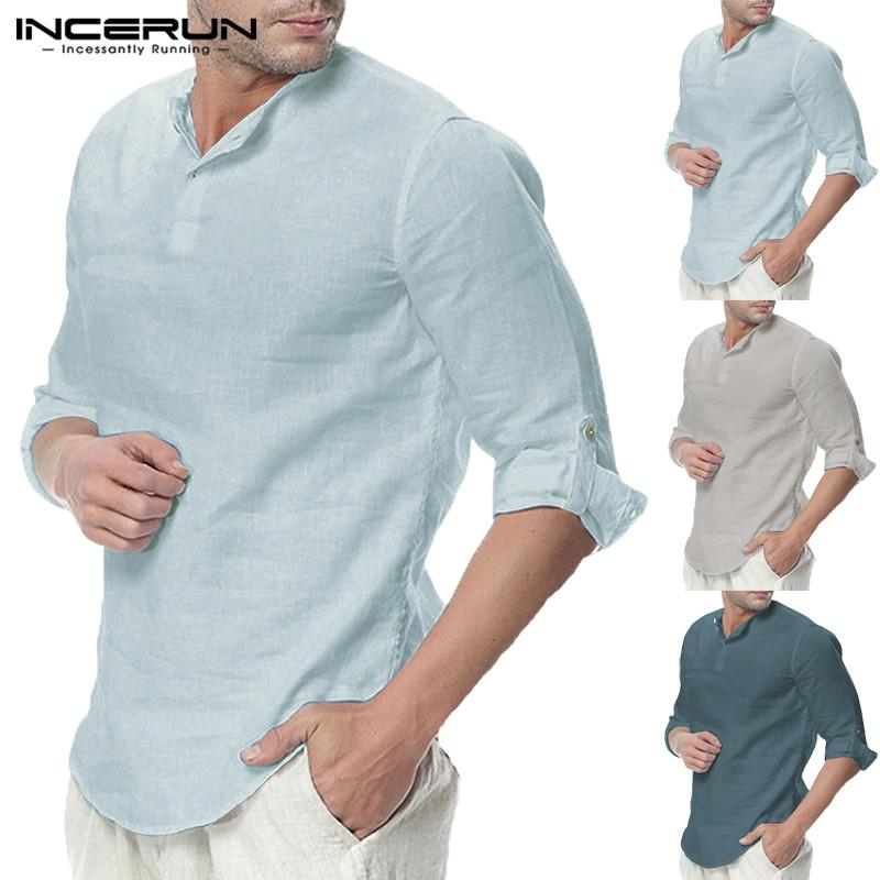 5b0fe069c9c INCERUN Casual Men Shirts Long Sleeve Henley Collar V Neck Basic ...
