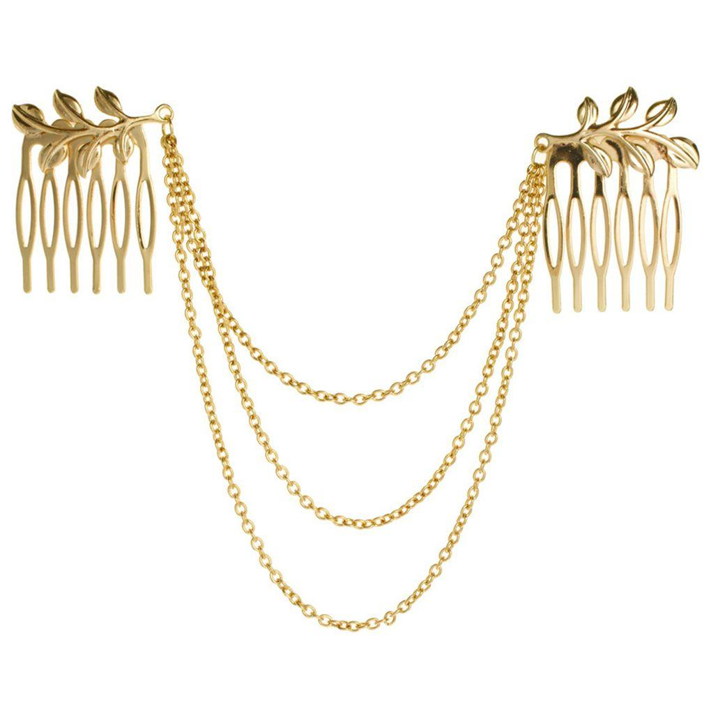 Women Gold Leaves 3-layers Headwear Chains Double Hair Comb Hair Claw Clips Jewelry